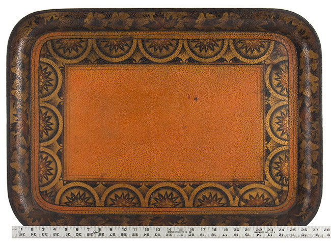 Antique Painted Tin Tray/Tole Tray, 19th Century, with ruler for scale