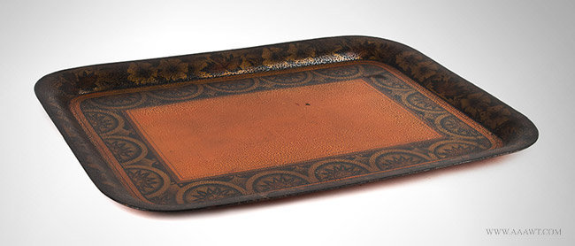 Antique Painted Tin Tray/Tole Tray, 19th Century, angle view