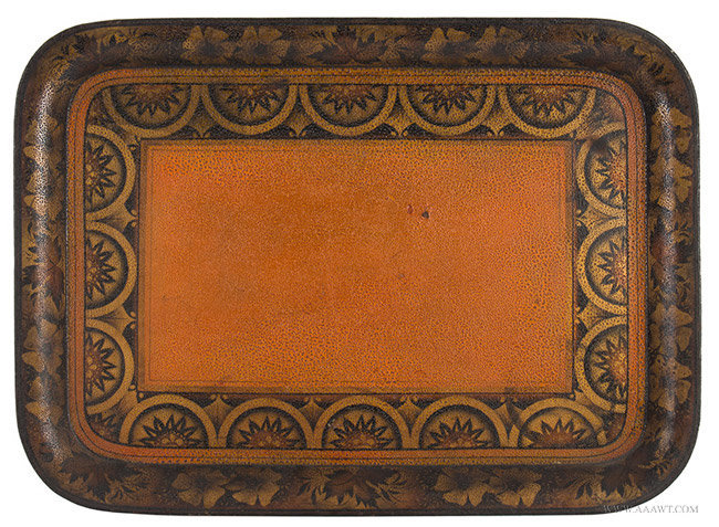 Antique Painted Tin Tray/Tole Tray, 19th Century, entire view