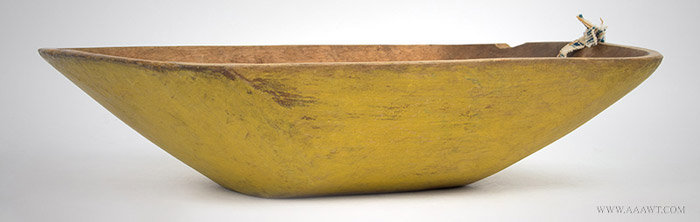 Antique Trencher/Chopping Bowl in Original Mustard Yellow Paint, 19th Century, angle view