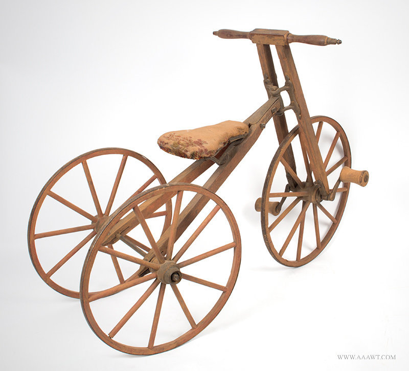 Antique Child's Bone Shaker Tricycle with Wood Frame and Wheels, Circa 1870 to 1880, rear angle