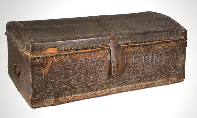 Trunk, Leather, Tooled  European, probably Spain  17th or Early 18th Century, entire view