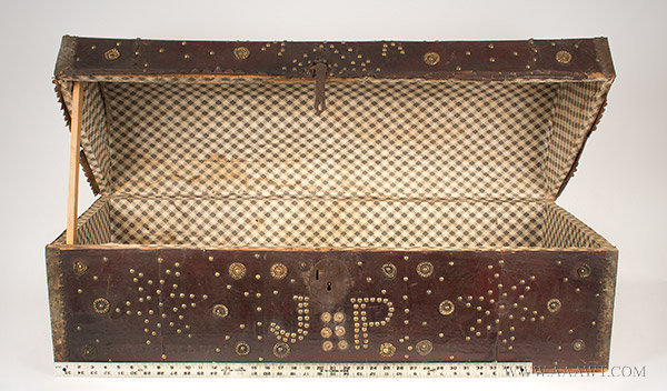 Trunk, Leather Bound, Brass Studded, Repousse Bosses, Doubled Headed Eagle  Possibly Spain, 18th Century, open view