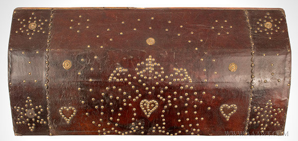 Trunk, Leather Bound, Brass Studded, Repousse Bosses, Doubled Headed Eagle  Possibly Spain, 18th Century, top view