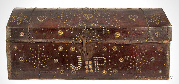 Trunk, Leather Bound, Brass Studded, Repousse Bosses, Doubled Headed Eagle  Possibly Spain, 18th Century, entire view