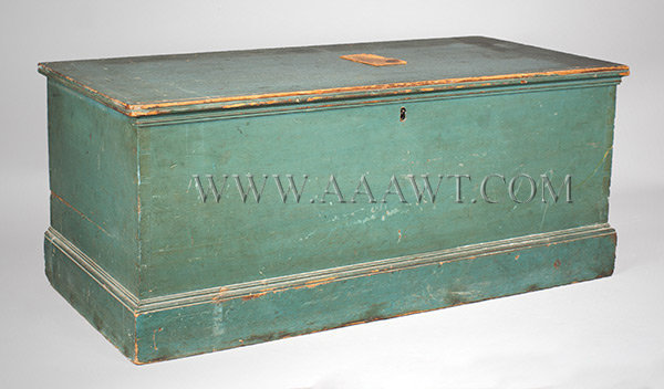 Blanket Box, Trunk, Original Blue Paint, Molded, Dovetail Joinery, Lidded Till Found in Maine, Early 19th Century, entire view