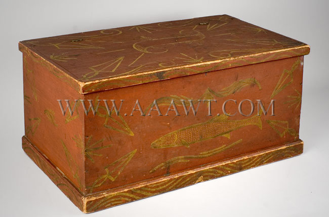 Trunk, Painted, Paint Decorated Ex Jean Lipman Collection Northeastern United States Poplar, entire view