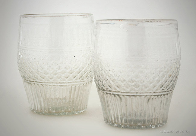 Antique Matched Pair of Three Mold Barrel Form Tumblers, American, Circa 1820, pair view