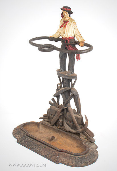 Umbrella Stand, Sailor in Crow's Nest, Whaling, Cast Iron, Original Paint  Anonymous, Circa 1875 to 1900, angle view