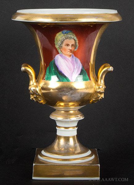 Paris Porcelain Urn with Martha Washington Portrait, 19th Century, entire view