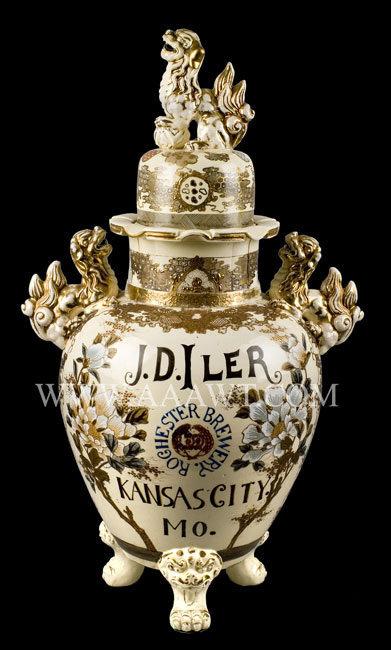 Satsuma Urn, Brewery Advertising J.D. Iler, Rochester Brewery, Kansas City, Missouri Urn of great proportion Circa 1897, entire view