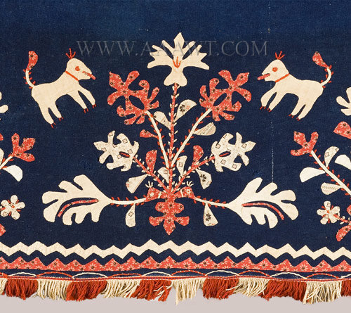 Antique Folk Art Wool Valance, Appliqued, Cotton Prints, detail view