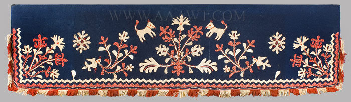 Antique Folk Art Wool Valance, Appliqued, Cotton Prints, entire view