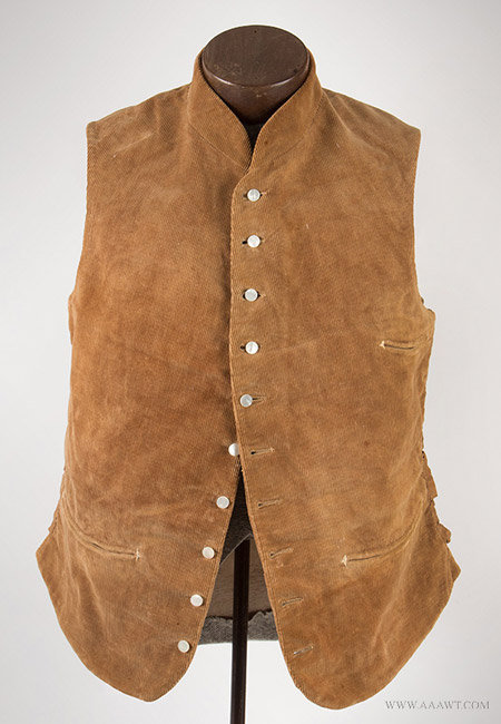 Antique Men's Corduroy Vest, Likely 19th Century, entire view