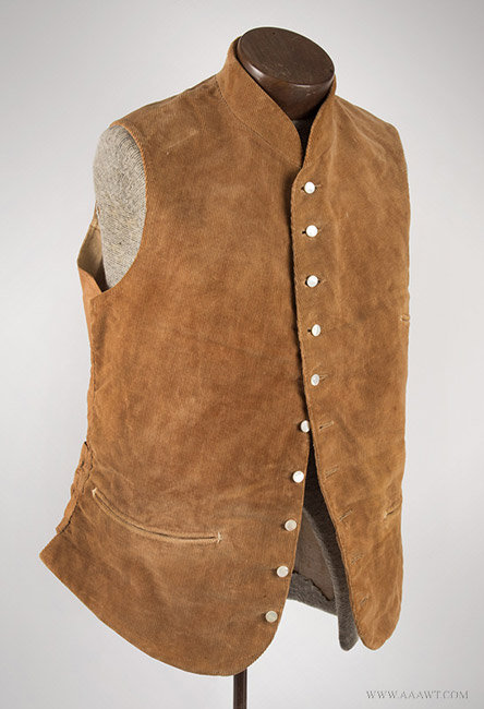 Antique Men's Corduroy Vest, Likely 19th Century, angle view