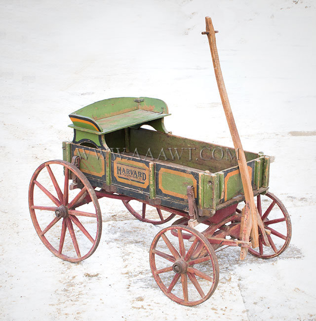 Antique Childs Goat Drawn Wagon, Late 19th Century, angle view