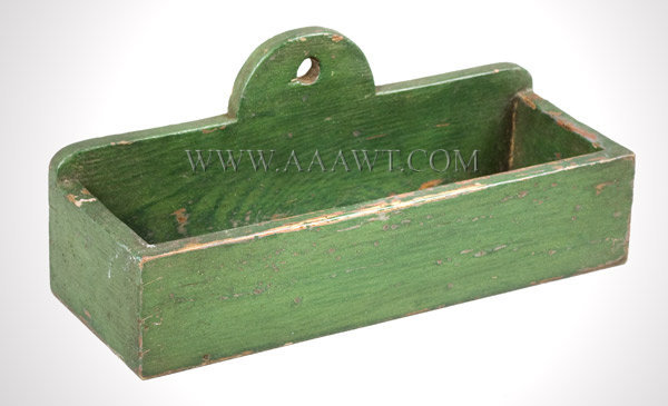 Wall Box, Hanging Candle Box, Dovetailed, Old Green paint New England 19th Century, entire view