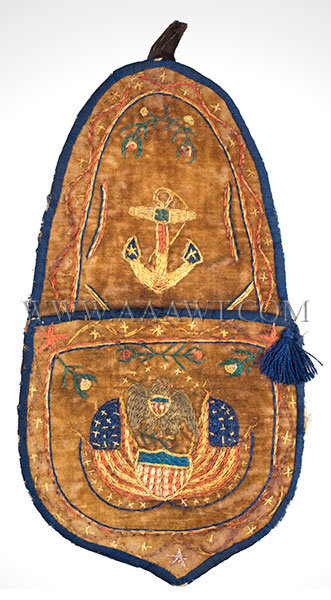 Antique Embroidered Wall Pocket, US Navy, Circa 1810 to 1830, entire view