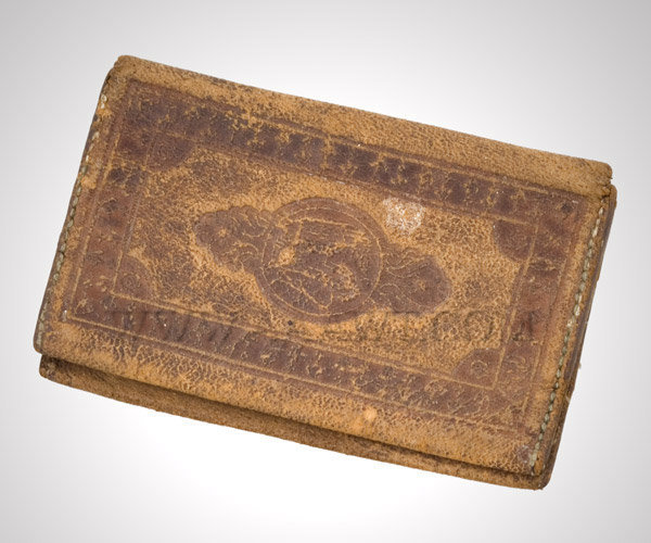 Antique Wallet, Gentleman's Wallet, Embossed Leather, angle view