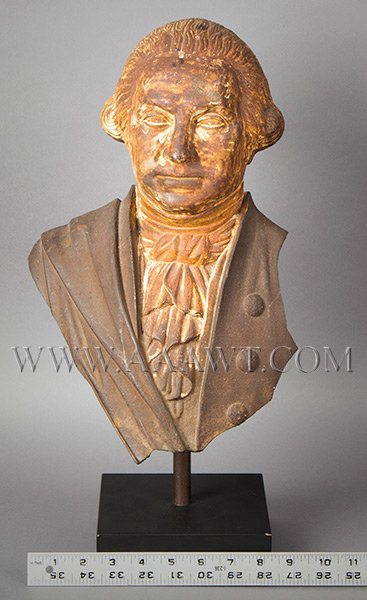 George Washington, Cast Iron Portrait, Original Surface, (Fragment, Stove Figure)  Probably Alonzo Blanchard, Albany, New York (Made by several NY firms)  Circa 1840's, scale view