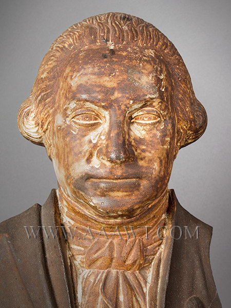 George Washington, Cast Iron Portrait, Original Surface, (Fragment, Stove Figure)  Probably Alonzo Blanchard, Albany, New York (Made by several NY firms)  Circa 1840's, entire view 3