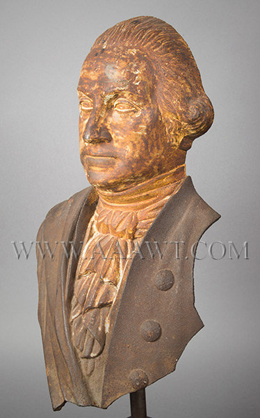 George Washington, Cast Iron Portrait, Original Surface, (Fragment, Stove Figure)  Probably Alonzo Blanchard, Albany, New York (Made by several NY firms)  Circa 1840's, entire view 1