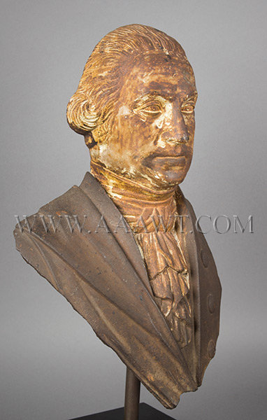 George Washington, Cast Iron Portrait, Original Surface, (Fragment, Stove Figure)  Probably Alonzo Blanchard, Albany, New York (Made by several NY firms)  Circa 1840's, entire view 2