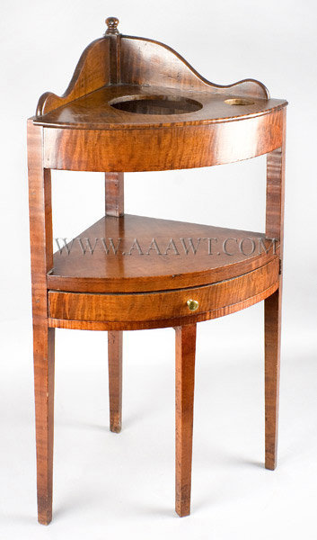 Child's Corner Washstand, Curly Maple, Rare New England Circa 1810 to 1820, angle view