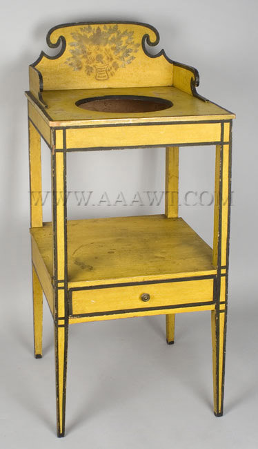 Washstand, Hepplewhite, Dramatic Scrolled Back, Original Paint And  Decoration Maine, Early 19th Century A Delicate And Desirable Country  Example