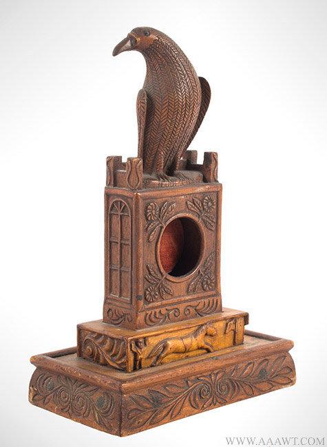 Antique Folk Art Carved Presentation Watch Hutch, 1886, angle view 1