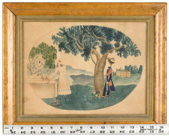 Mourning Picture, Watercolor  New England  Early 19th Century, scale view