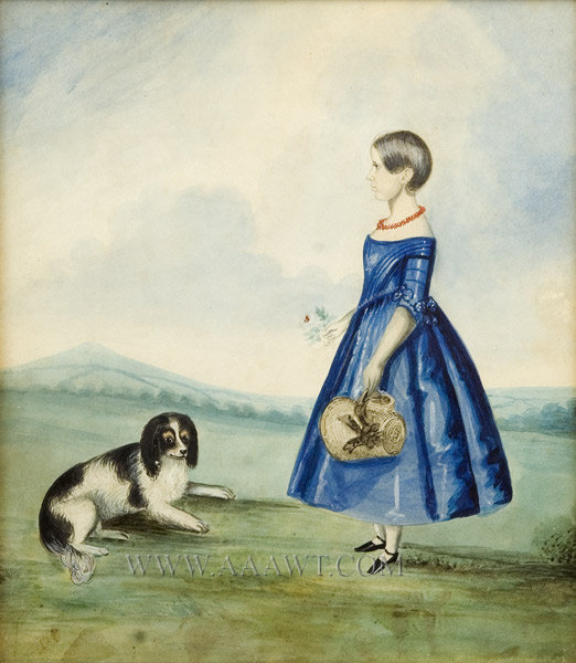 Watercolor, Girl with Dog, entire view