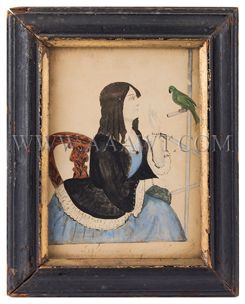 Folk Portrait, Watercolor, Girl with Parrot, Seated in Decorated Chair  Anonymous  19th Century, entire view