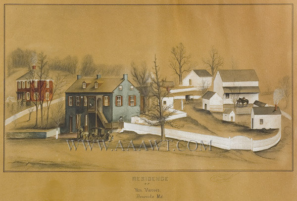 American School Folk Art, Landscape, Residence of Mrs. Hoover, Federal  Watercolor, pencil, and Gouache, Indistinct Signature  Benevola, Maryland  19th Century, entire view