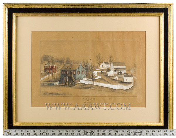 American School Folk Art, Landscape, Residence of Mrs. Hoover, Federal  Watercolor, pencil, and Gouache, Indistinct Signature  Benevola, Maryland  19th Century, scale view