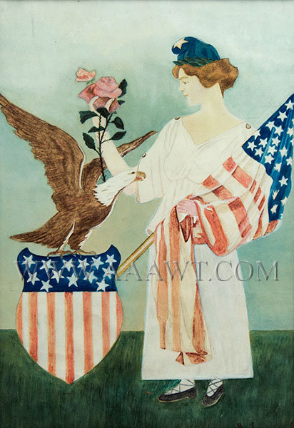 Lady Liberty Watercolor, Liberty Cap, Eagle Perched on Shield