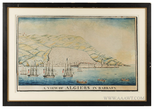 Watercolor, View of Algiers in Barbary, American Ships in Harbor, Naval History Anonymous, inscription in margin identifying United States, Java & Constitution, entire view