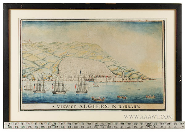 Watercolor, View of Algiers in Barbary, American Ships in Harbor, Naval History Anonymous, inscription in margin identifying United States, Java & Constitution, scale view