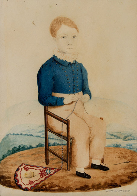 Antique Watercolor Portrait of a Seated Boy with a Kite, Henry Walton, Circa 1830's, close up view