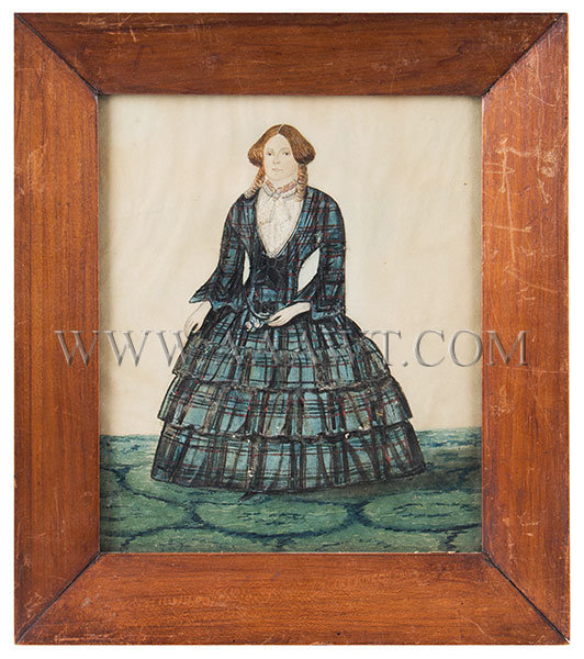 Folk Portrait, Watercolor, Woman in Paid Dress, Full Length  Anonymous  19th Century, entire view