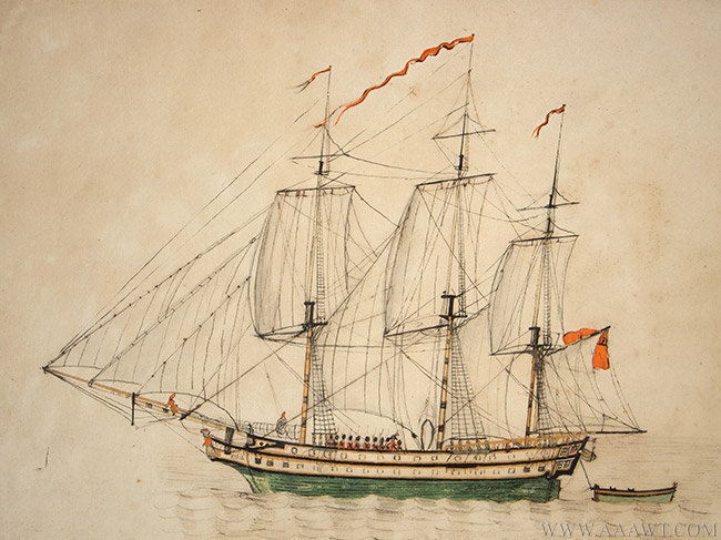 Antique Watercolor of the Gunboat Maria, Early 19th Century, close up view