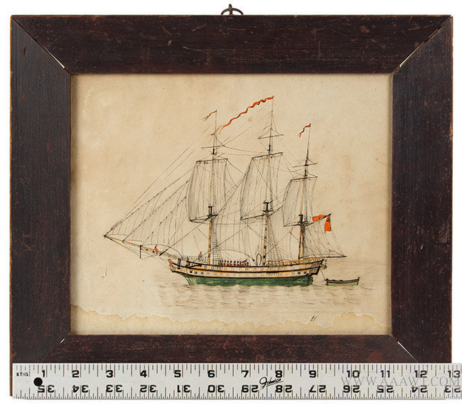 Antique Watercolor of the Gunboat Maria, Early 19th Century, with ruler for scale
