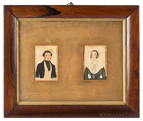 Watercolor Portraits, Pair, Man and Woman, English School  Anonymous, Early 19th Century, entire view