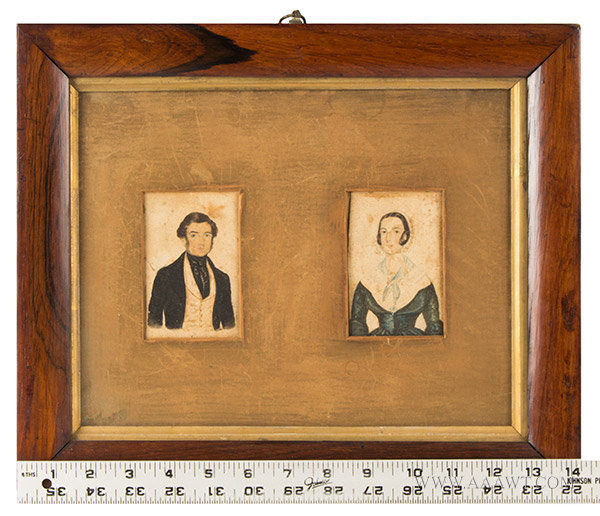 Watercolor Portraits, Pair, Man and Woman, English School  Anonymous, Early 19th Century, scale view