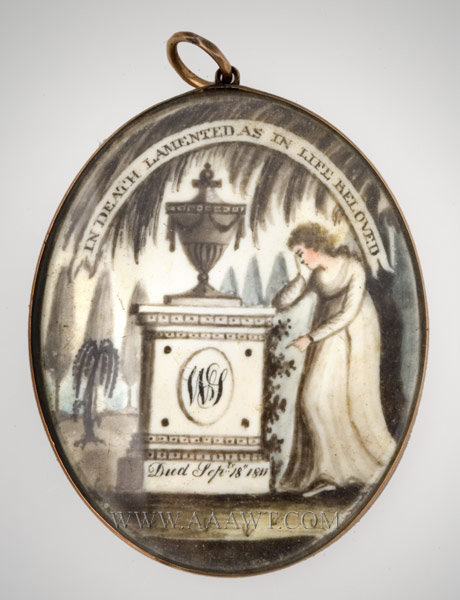 Antique Mourning Watercolor Painting in a Gold Locket with Woven Hairwork Back, Dated 1811, entire view
