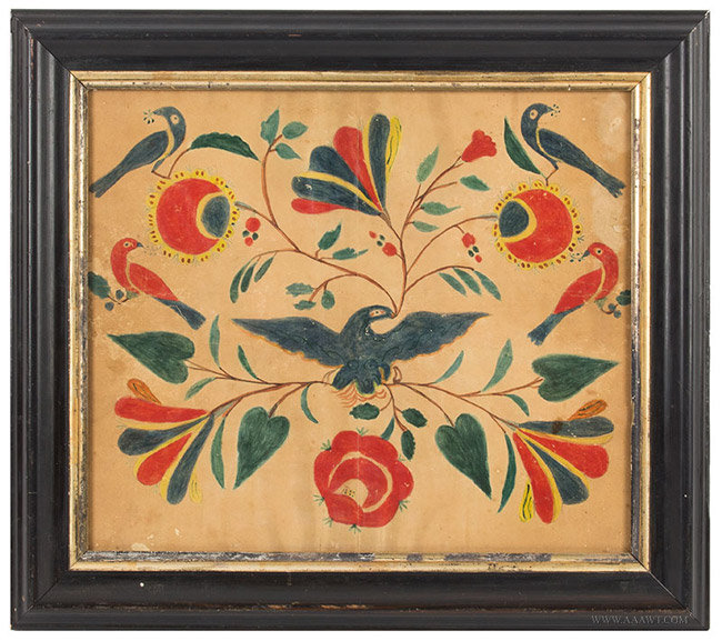 Antique Pennsylvania Fraktur Drawing with Floral Designs and Eagle, 19th Century, entire view