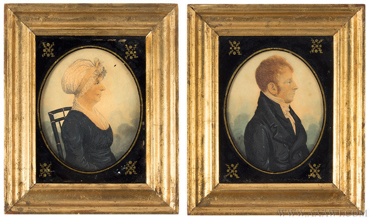 Antique Pair of Watercolor Portraits of a Man and Woman, 19th Century, pair view