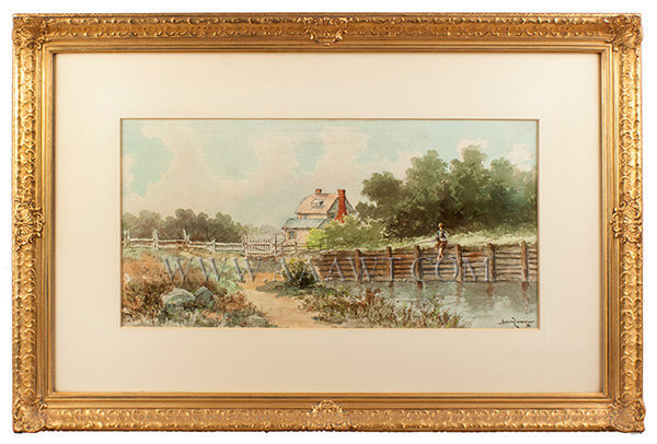 Watercolors, Pair, Landscape, one: Man Walking Dog, the other: Boy Fishing  By Adrian Livingston  1895 and 1896, entire view