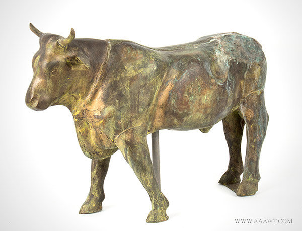 Antique Weathervane, Full Bodied Bull, Later 19th Century, Anonymous, angle view