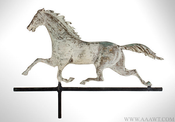 Antique Running Horse Weathervane in Old Honest White Paint, Late 19th Century, facing left view